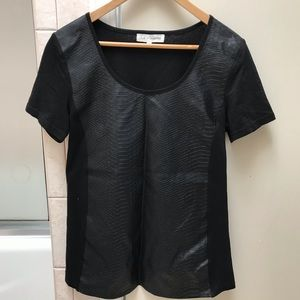 Faux Leather Mixed Media Top by Lola vs Harper